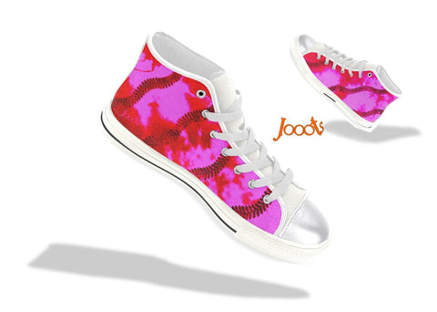 "Sneakers for teens- cool, colorful. Red pink keds for girls. Indian design hi tops- ""Holi"" . Jooots from Artikrti"
