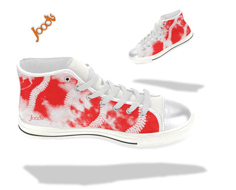 "Sneakers for teens- cool, colorful. Red white keds for girls. Indian design hi tops- ""Holi"" . Jooots from Artikrti"
