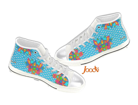 Women's sneakers or keds shoes. Ethnic Rangoli design high tops canvas shoes. Rainbow Lotus . Jooots from Artikrti