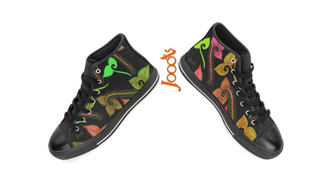Sneakers or keds or casual shoes for women. Cool ethnic Indian designs. Black green red violet pink. Feather Floats. Jooots from Artikrti