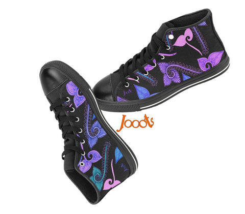 Sporty, comfy sneakers for women. Cool high tops with ethnic Indian designs. Black green red violet pink. Feather Floats. Jooots from Artikrti