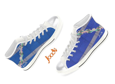 "Women's canvas shoes. Cool sneakers with ethnic Indian design. Purple, Pink, Blue keds. ""Anklet Series1"". Jooots from Artikrti"