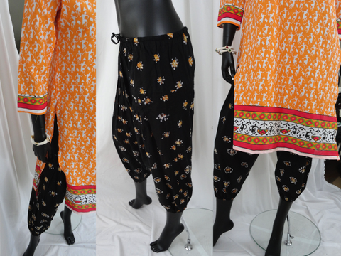 Casual boho cotton harem pants or capris. Women's Yoga leggings. Baggy Gypsy Pants for meditation or lounge in. Yoga legging, tai chi pants. ComfyCottons from Aritkrti.