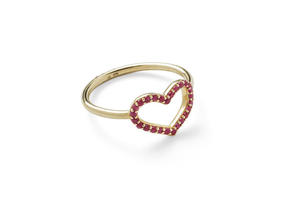 Single Heart Ring with Front & Back Pave Rubies