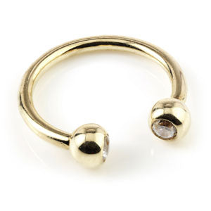 9ct Yellow gold circular barbell/horseshoe ring with two clear crystal/CZ jewelled ball ends. 1.2mm gauge x 10mm internal diameter suitable for septum piercings, etc.