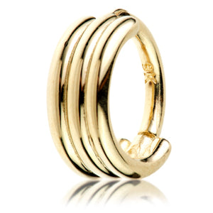 9ct hallmarked yellow gold banded hinged septum ring, 1.2mm gauge/thickness x 6,, - 8mm internal diameter.