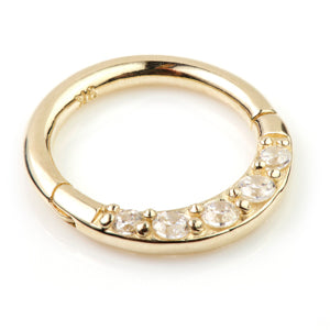 Tish Lyon hallmarked 9ct yellow gold forward facing clear/CZ crystal hinged septum ring 1.2mm thickness x 8mm internal diameter.