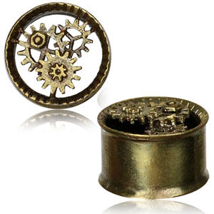 Brass double flared tunnel with steampunk cogs front detail 10mm - 16mm