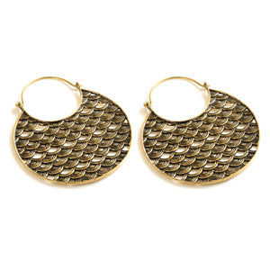 Brass fish scale pattern tunnel drop hoop earrings, sold in pairs
