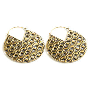 Geometric pattern hexagon design brass round tunnel drop hoop earrings for stretched ears or standard pierced ears