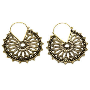 Large brass mandala geometry tunnel drop hoop earrings, suitable for stretched ears or standard ear piercings