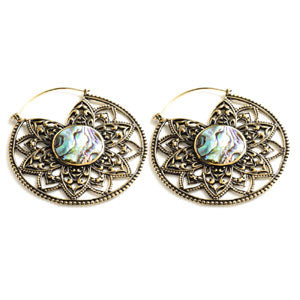 Large brass & Abalone floral mandala tunnel drop hoop earrings, suitable for stretched ears or standard ear piercings