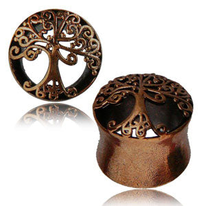 Rose bronze cutout front Tree Of Life double flared eyelet/tunnel 8mm 10mm