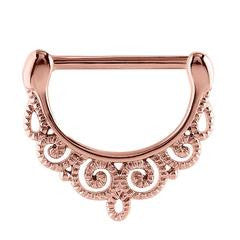 Rose gold PVD steel filigree pattern nipple clicker, 1.6mm x 14mm