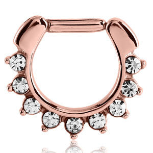 Rose Gold PVD Steel 9 Jewel Claw Set Septum Clicker