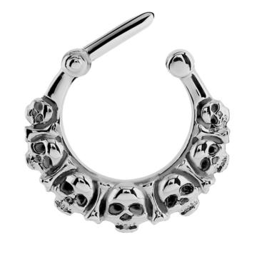 Goth skull and bones septum clicker in 1.2mm x 8mm internal diameter. Suitable for healed septum or daith piercings, made of 316L surgical steel.