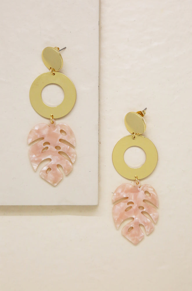 Tropics Pink Resin Palm Leaf & 18kt Gold Plated Earrings