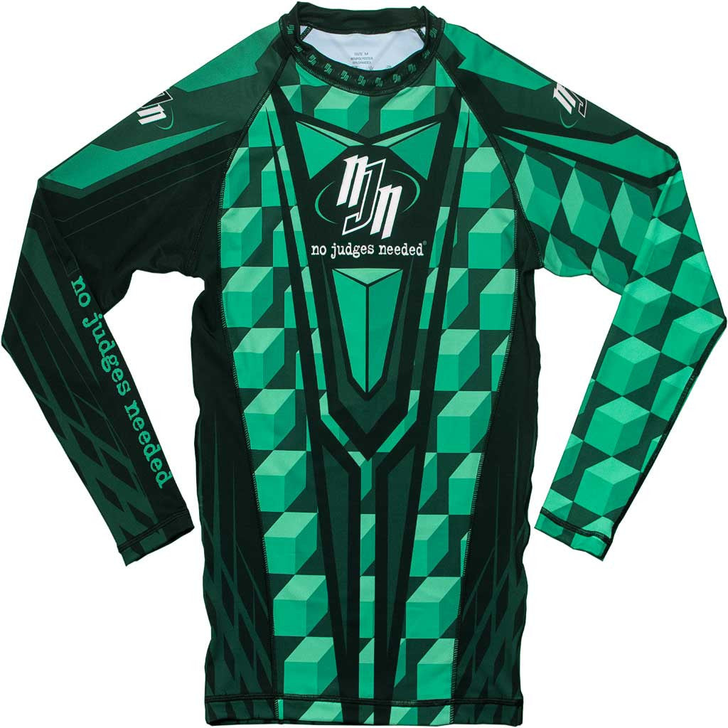 Rash Guard Long Sleeve Green M1 | No Judges Needed