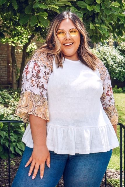 Curvy Paisley Waffle Knit Top