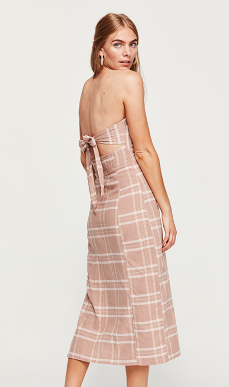 Free People Plaid Strapless Dress
