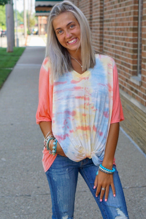 Coral Tie Dye Knot Top