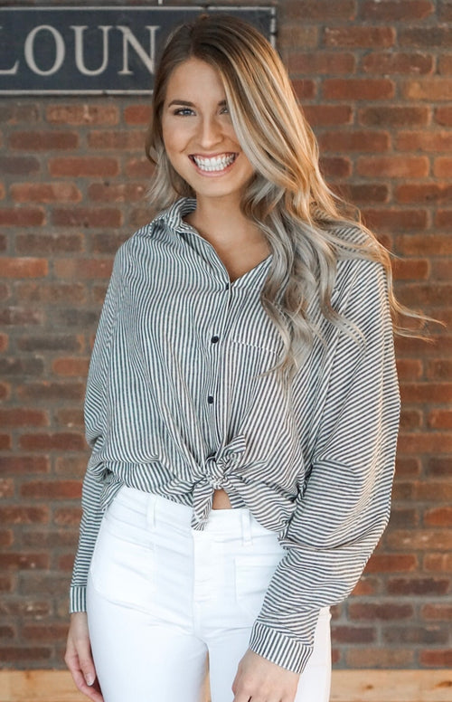 Charcoal Pinstripe Button Up