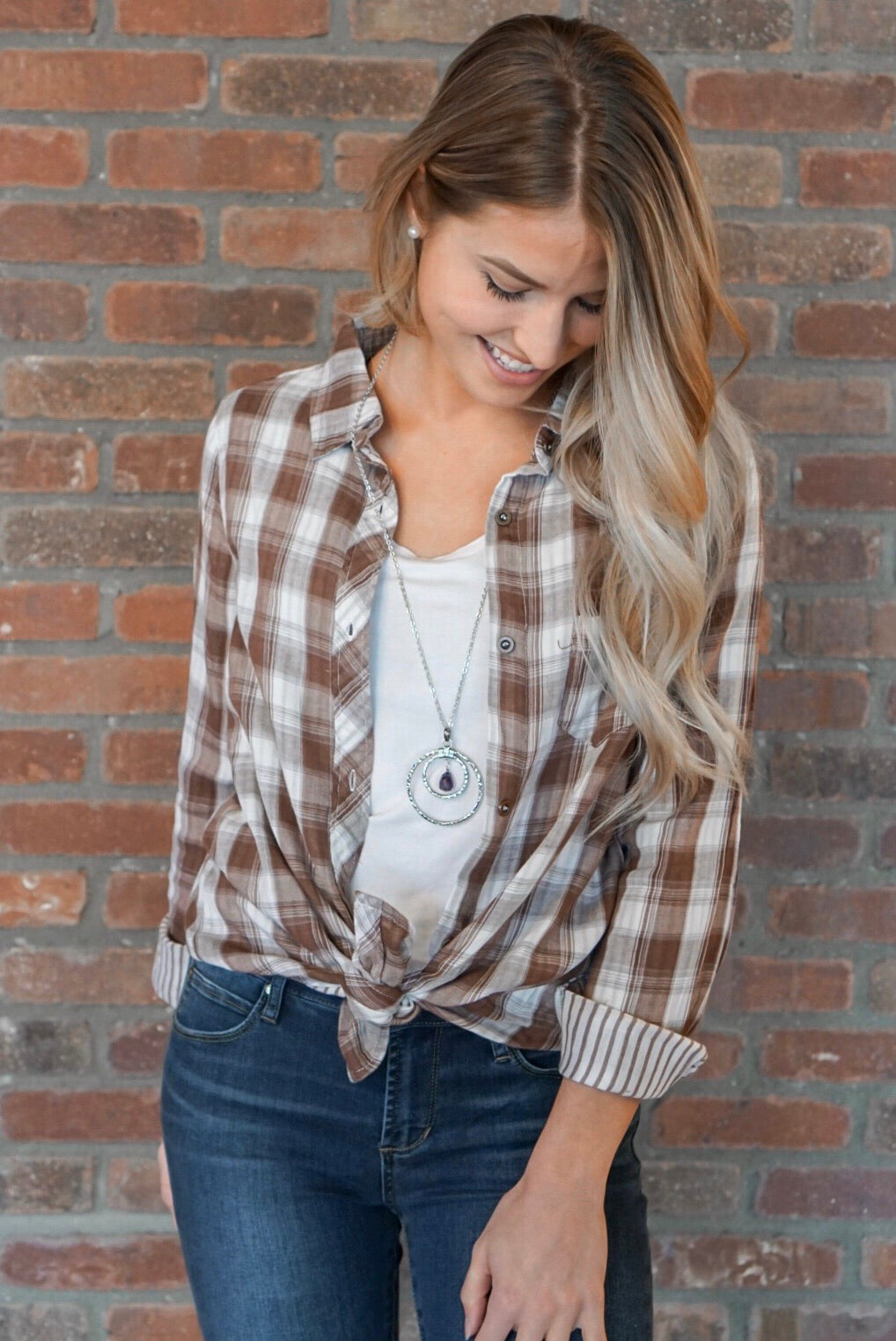 Brown and White Plaid Top