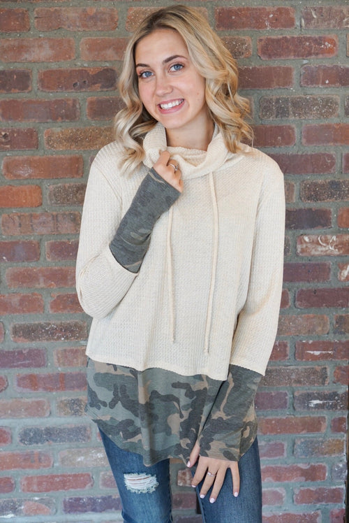 Oatmeal Camo Cowl Neck Thermal