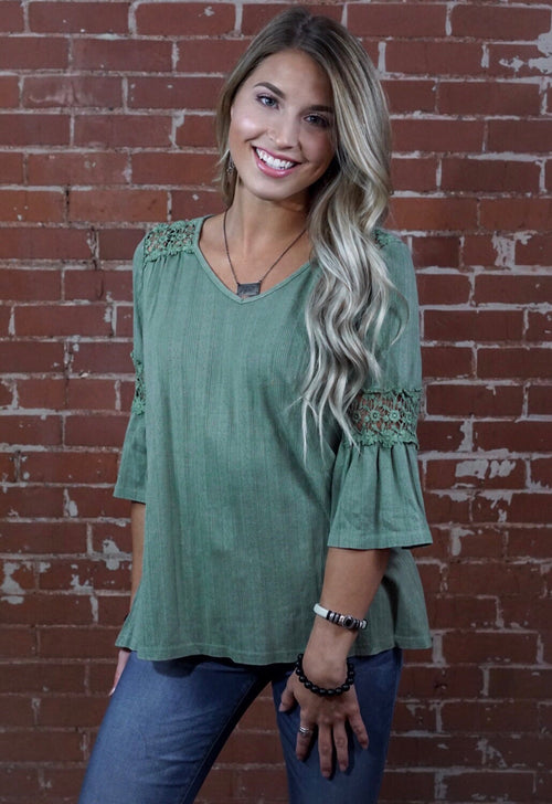 Sage Textured Crochet Top
