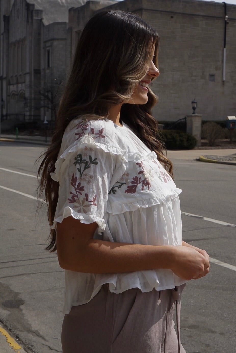 Ivory Embroidered Ruffle Top