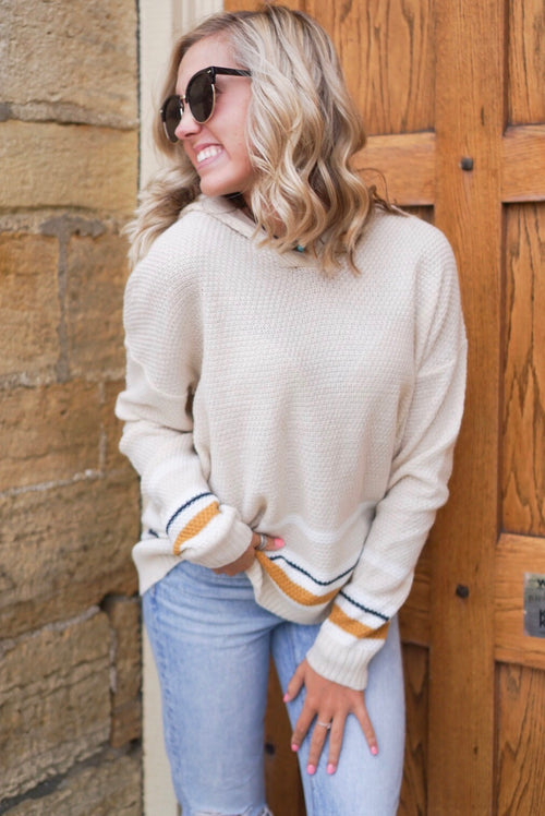 Beige Hooded Sweater