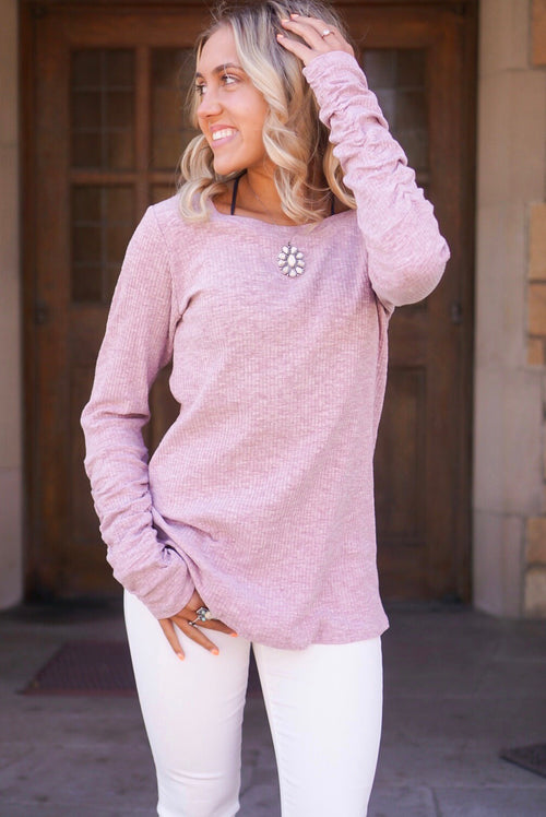 Plum Rouched Sleeve Top