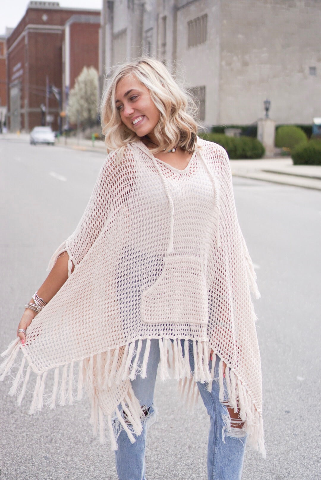 Cream Crochet Detailed Poncho