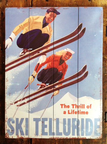 Skiers Vintage Wood Sign