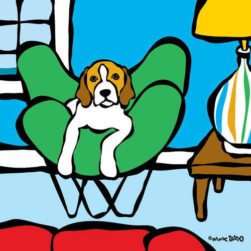 Beagle in Beach House Print