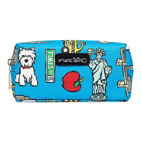 NYC Pattern on Blue Cosmetic Case - Small