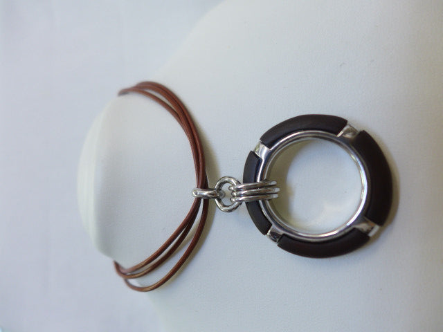 Sterling Silver Porthole Pendant with Leather Necklet