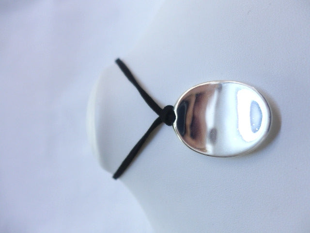 Sterling Silver Tablet Pendant on Black Leather Cord
