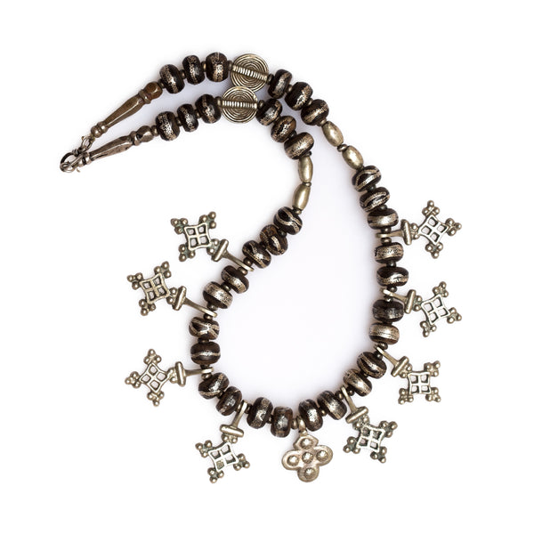 Mauritanian Tribal Cross and Ebony Silver Wire Inlayed Bead Necklace