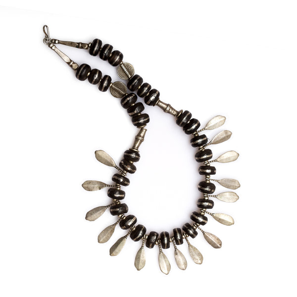 Mauritanian Ebony and Silver Wire Inlayed Tribal Necklace