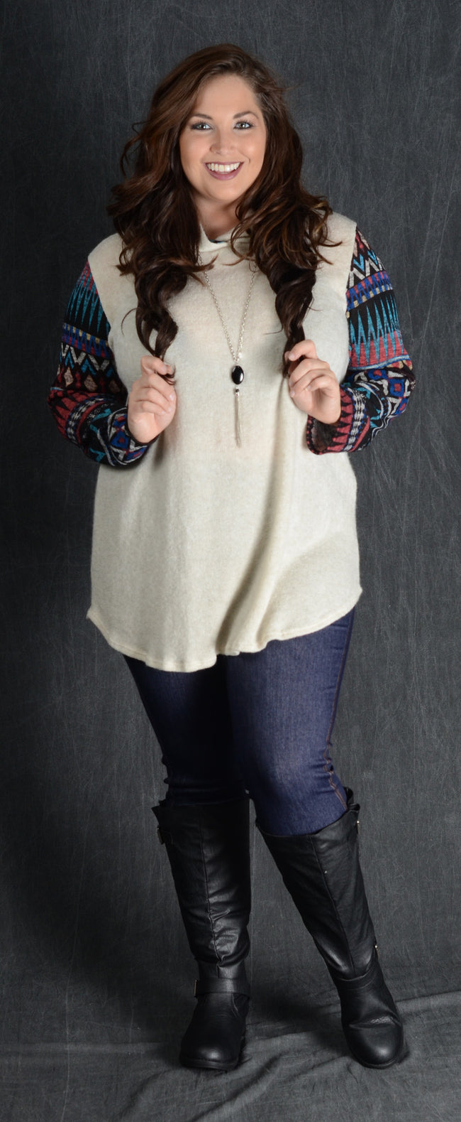 Ivory Contrast Sleeve Hooded Top - www.mycurvystore.com - Curvy Boutique - Plus Size