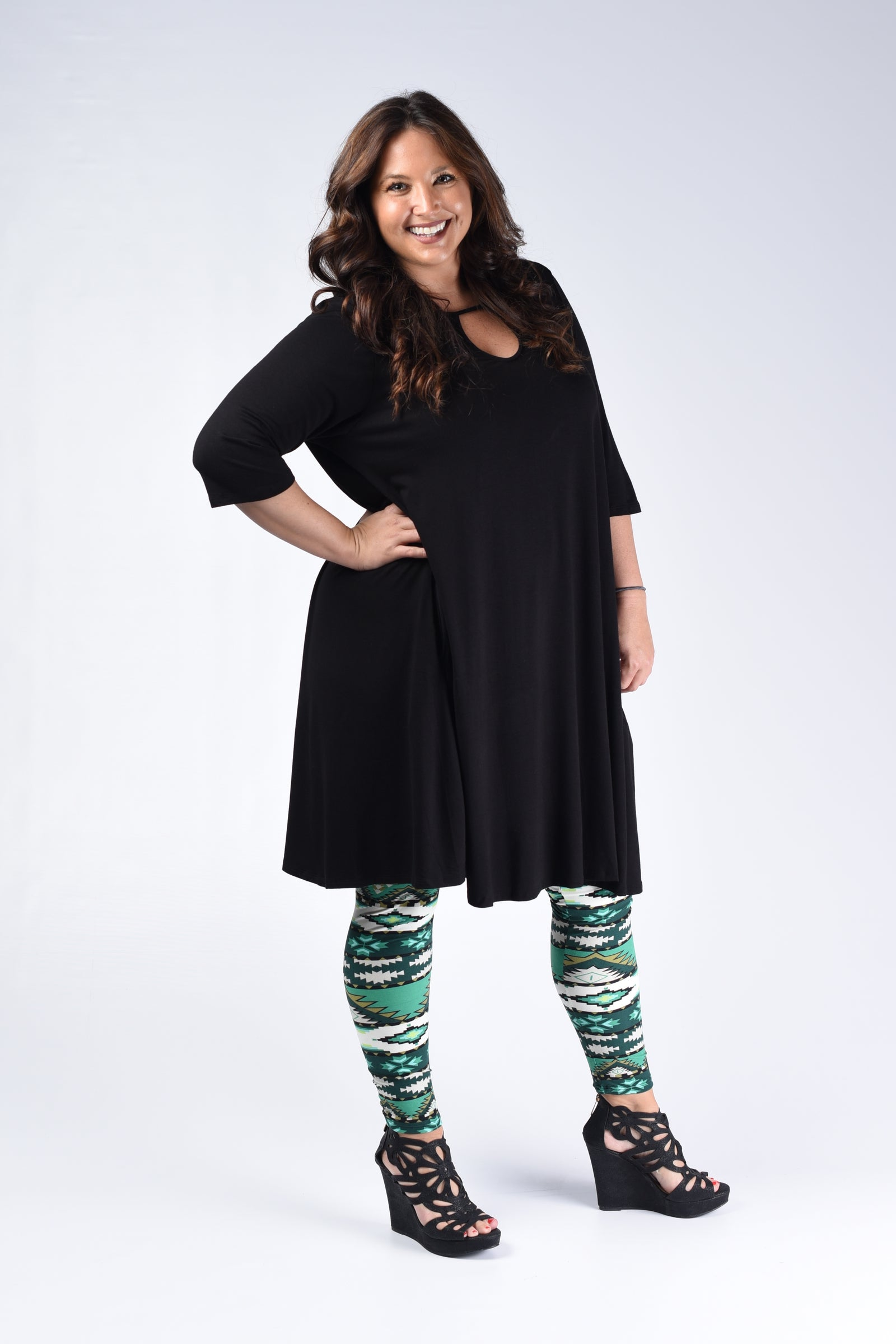 Green Tribal Leggings - www.mycurvystore.com - Curvy Boutique - Plus Size