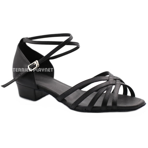 High Quality Black Leather Women Dance Shoes D1204