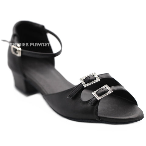 High Quality Black Leather Women Dance Shoes D1206
