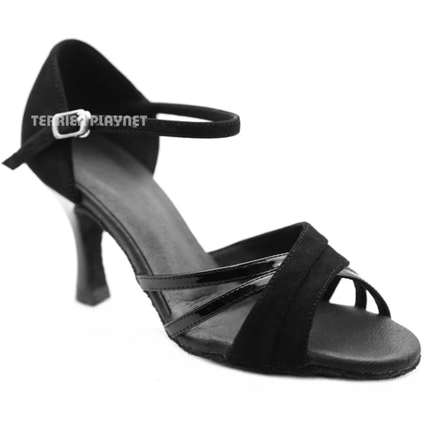 High Quality Black Leather Women Dance Shoes D1269