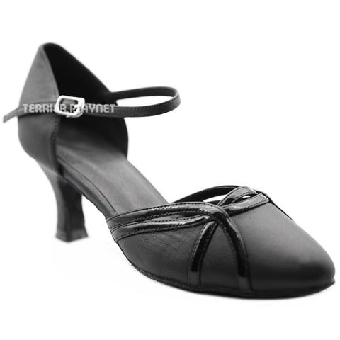 High Quality Black Leather Women Dance Shoes D1273