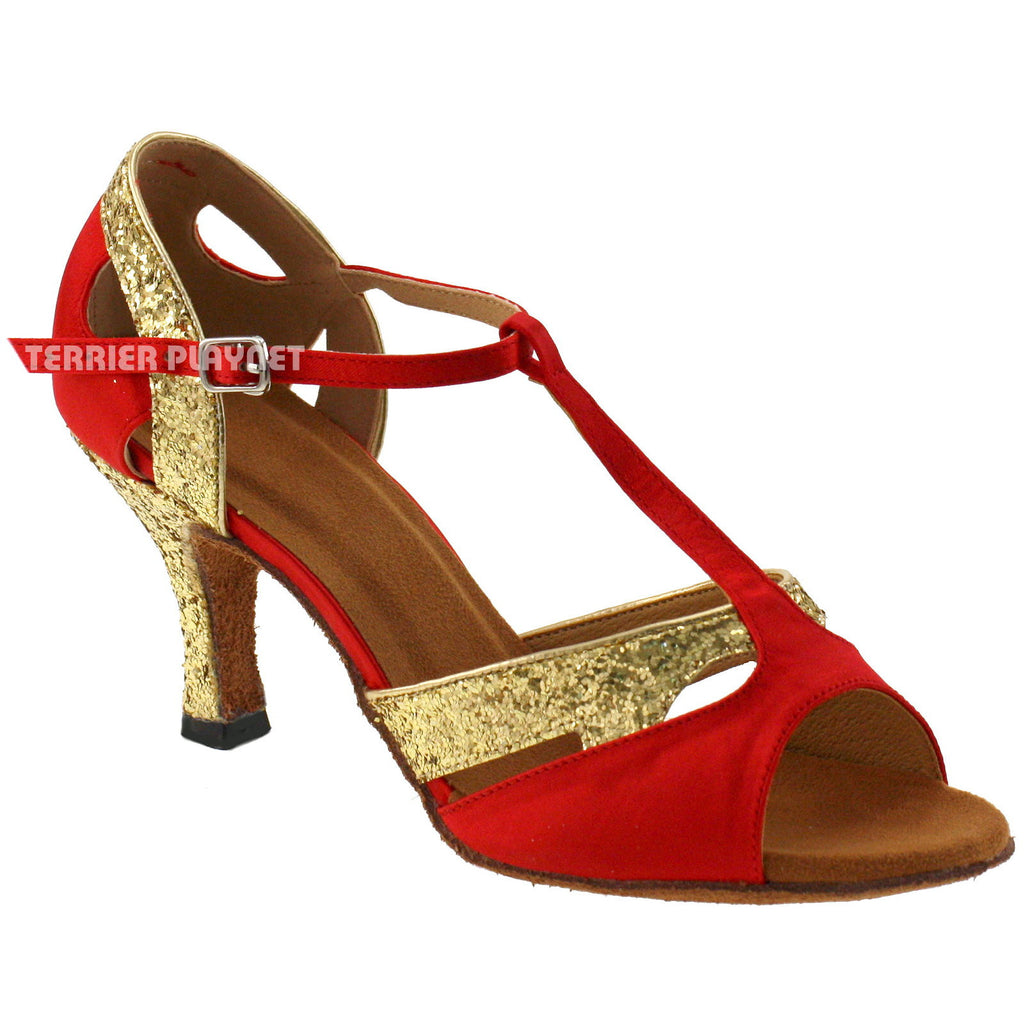Red & Gold Women Dance Shoes D194