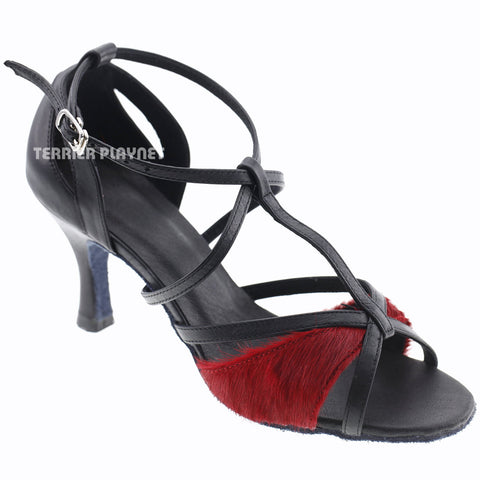 Limited Edition High Quality Black Leather & Red Fur Women Dance Shoes D1002