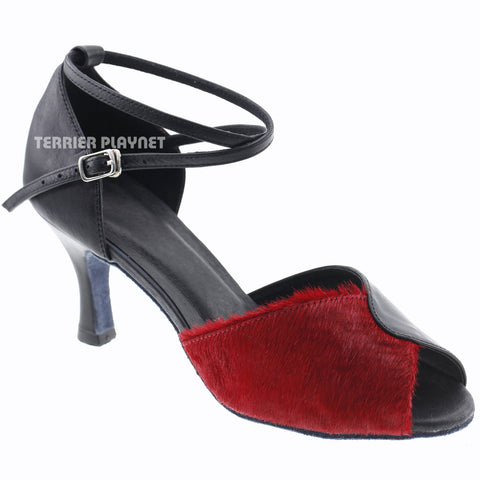 Limited Edition High Quality Black Leather & Red Fur Women Dance Shoes D1003