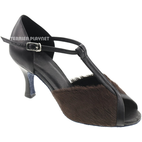 Limited Edition High Quality Black Leather & Brown Fur Women Dance Shoes D1004
